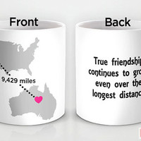 Custom PinkMugNY design coffee mug- Long Distance Love - Best Friends #4