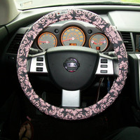 Pink and Grey Damask Steering Wheel Cover by mammajane on Etsy