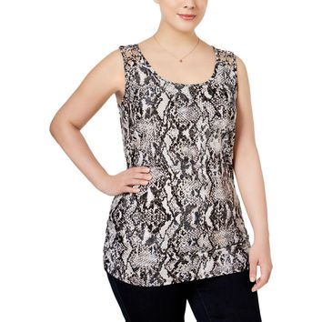 INC Womens Plus Macrame Detailed Snake Print Tank Top