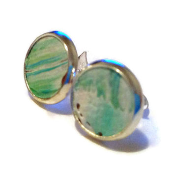 Sea green ombre Leather Stud Earrings Leather by MullaneInk