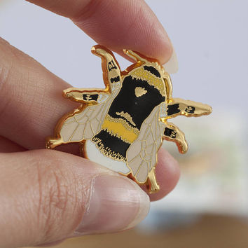 British Bee Enamel Pin | Pin Badge | Hard Enamel Pin | Gold Enamel Pin | Bee Pin | Bumble Bee | British Bees | Lapel Pin | British Wildlife