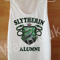Harry Potter Clothing Slytherin harry potter tank Harry Potter T shirt Custom Handmade Screen Print Funny White Clothing Women T shirt SM L