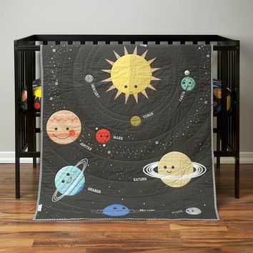 Outer Space Baby Quilt- Boy - Crib Bedding - Galaxy - Planet Crib Bedding - Solar System Bedding - Space Nursery - Planet Blanket