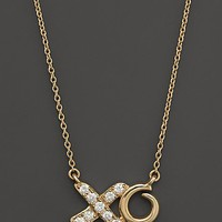 Diamond XO Necklace in 14K Yellow Gold, .13 ct. t.w. | Bloomingdale's