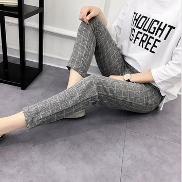 Women's Plaid Pants Elastic Bow Tie Drawstring Casual Loose Pockets Trousers 2019 Hot Sell Spring Fashion Harem Pants Plus Size