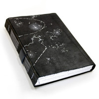 Galaxy Stars Black Leather Journal - Leather Notebook - Black Handmade Diary  - Night Sky, Astronomy Galaxy Handbound Journal