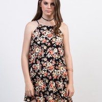 Flowy Bib Neck Floral Dress