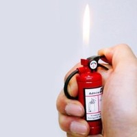 Fire Extinguisher Design Flame Lighter with LED Flashlight Red: Everything Else
