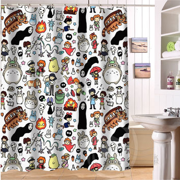 "New All Studio Ghibli Character Totoro custom Shower Curtain Bathroom decor 36x72"" 48x72"" 60x72"" 66x72"""
