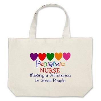 Pediatric Nurse MAKING A DIFFERENCE SMALL PEOPLE Canvas Bags from Zazzle.com
