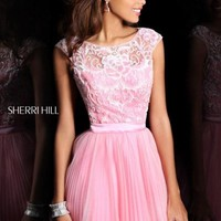 Size 00 Emerald Sherri Hill 21167 Cap Sleeve Pleated Short Dress