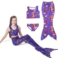 Girls Kids Swimmable Mermaid Tail Swimsuit Swimwear Purple Swimming Bathing Suit