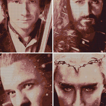 4 Hobbit Cross Stitch Patterns Thranduil, Thorin, Bilbo and Legolas