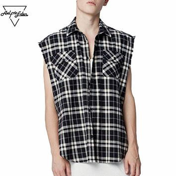 Men's Fashion Pop Scotland Plaid Sleeveless Black White Lattice Shirt Wild Hip Hop Frazzle Man Shirts