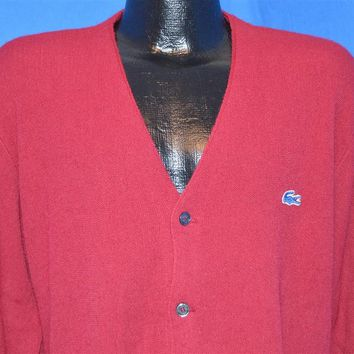 80s Izod Lacoste Maroon Cardigan Sweater Men's Large