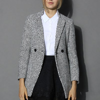 Classy Double Breasted Tweed Coat Multi