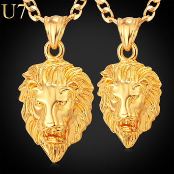 U7 Men Jewelry Cool Lion Pendant Gift New Trendy 2 Sizes Options 18K Real Gold Plated Exquisite Pendant Fashion Necklace P333