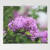 Lilac Bouquets Throw Blanket by Theresa Campbell D'August Art