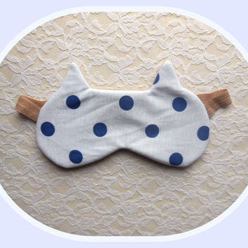 Cat Ears Sleep Mask - Polka Dots Eye Mask  - Soft Comfortable - Cute Women's Eye Mask - Tan Night Mask - Elastic Eye Mask - Neutral Colors