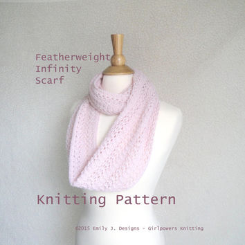 Featherweight Infinity Scarf Knitting Pattern, Easy Lace Scarf, Light Airy, Lace Sport DK Yarn