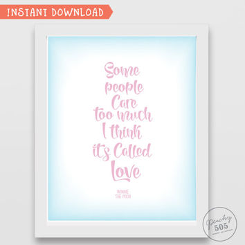 Disney quote art, Some people care too much wall art, printable Winnie the Pooh, Disney print, nursery wall art, Winnie the Pooh