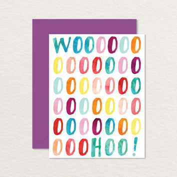 Woohoo! A2 Watercolor Printable Congratulations Card / Printable Birthday Card / Graduation Card / Baby Shower Card / Wedding Card