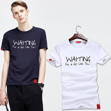 Summer Men Print Casual Cotton Round-neck Stretch Short Sleeve Men's Fashion T-shirts [6544654275]