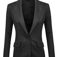 LE3NO Womens Casual Single Button Oversized Linen Blazer Jacket (CLEARANCE)