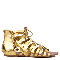 Strappy Gladiator Lace Up Gold Sandals
