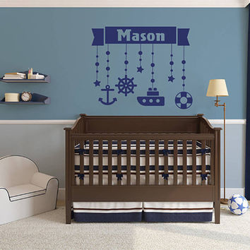 kik2324 Wall Decal Sticker Marine name boy steering ship anchored over bed children's room