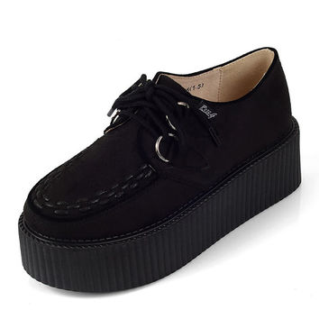 Women's Suede Creepers shoes Fashion Lace Up Flat Double Platform Goth Creepers Punk Casual Creepers Shoes Black