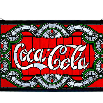 24 Inch W X 15 Inch H Coca-cola Victorian Stained Glass Window