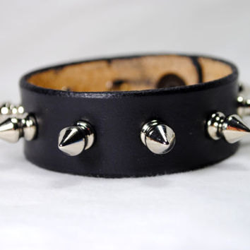Spike Studded Real Leather Bracelet with Snap Button