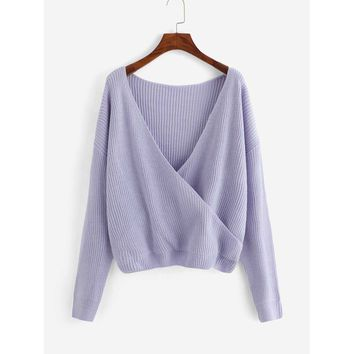 Plus Surplice Wrap Neck Sweater