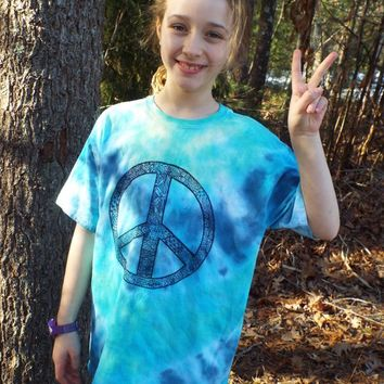 Tie Dye Peace Sign Shirt, Custom Tie Dye Shirt w Peace Sign, Hippie Shirt, Tie Dye Clothing, Hippie Costume, Boho Clothing, Tiedye Tshirt
