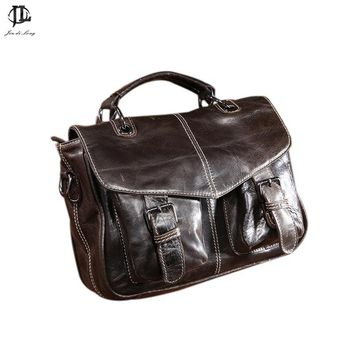 Classic Retro Oil Waxed Genuine Leather Cowhide Women's Messenger Bag Ladies Satchel Crossbody Shoulder Bags Handbag Rucksack