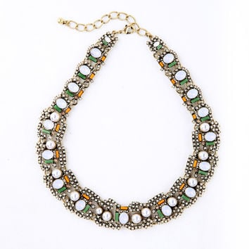 Pave Crystal and Pearl Statement Necklace