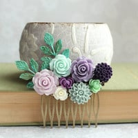 Bridal Hair Comb Mint Wedding Lavender Purple Rose Hair Comb Bridesmaid Gift Flowers for Hair Wedding Hairpiece Aubergine Dahlia Branch Comb