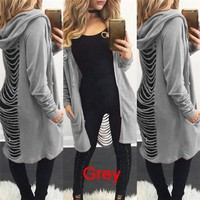 Ladies Cut Out Cardigan Ripped Back Hooded Sweaters
