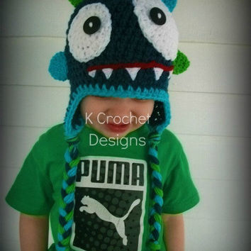 Navy blue monster hat by KCrochetdesigns on Etsy