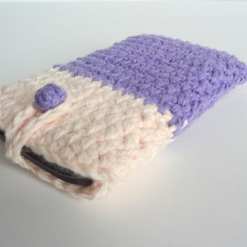 Purple iPhone Cover. Cellphone Sleeve. Crochet Mobile Phone Case. Nexus Android Smartphone Cover