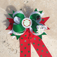 Personalized Christmas Twisted Boutique Hair Bow, Long Tails, Streamers Red Green White Bow, Christmas Bow, Personalized Flattened Bottlecap