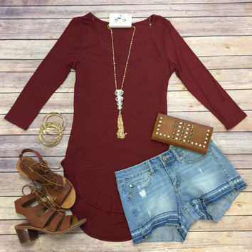 Easy Going Ribbed Top: Burgundy