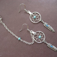 Turquoise Beaded Dream Catcher Asymmetrical by Azeetadesigns
