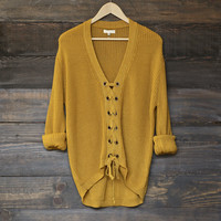 mustard lace up grommet knit sweater