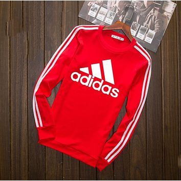 """Adidas""Loose Long Sleeve T-Shirt Tops Red I-YSSA-Z"