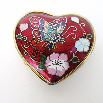 Vintage Enamel Butterfly Pill Box, Heart Shaped Box, Enamel Snuff Box, Pill Case