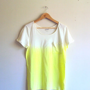 Tie Dye Ombre Neon Yellow T-Shirt  Beachwear Hand Painted Pocket Blouse Shibori Art Festival Top Dip Dye Yoga Workout Fitness Running Top