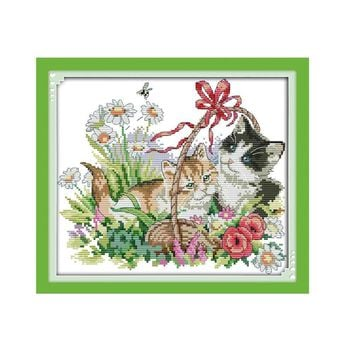 Cats At Play In Garden - Counted Cross Stitch Kit