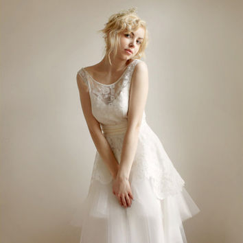 Mathilde--Lace and Tulle Wedding dress Etsy Exclusive